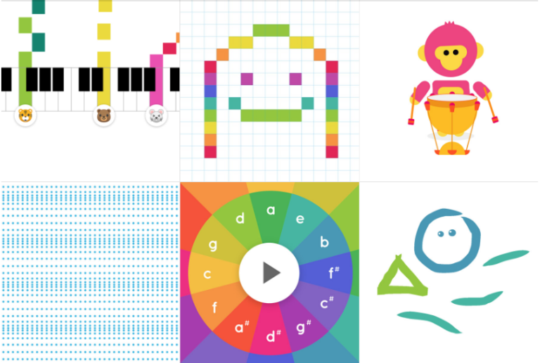 cute colourful graphics with music motifs